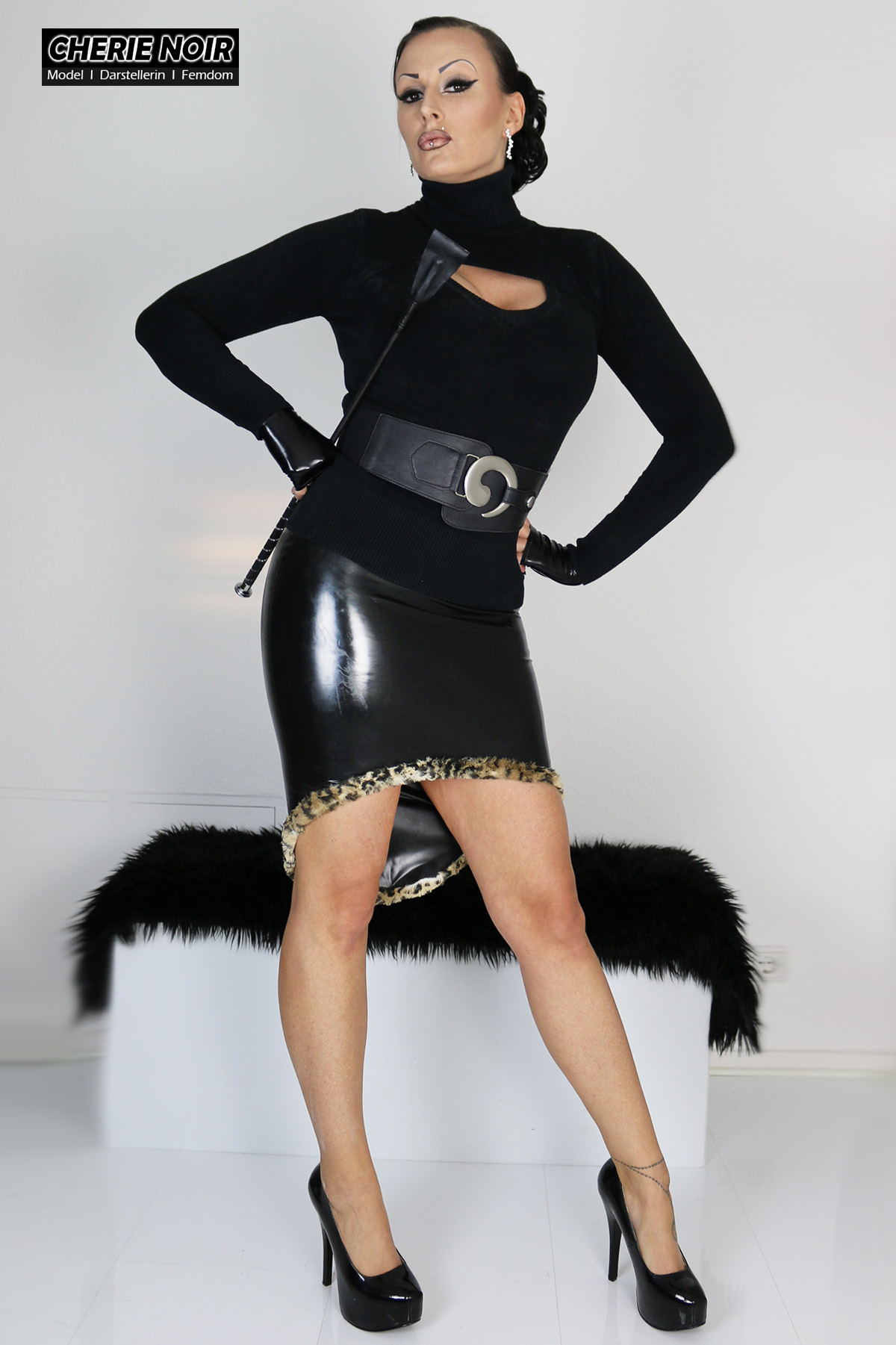 Latex Skirt Little Leopard